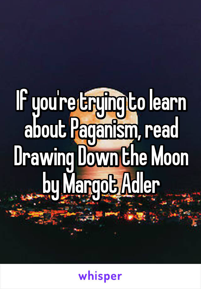 If you're trying to learn about Paganism, read Drawing Down the Moon by Margot Adler
