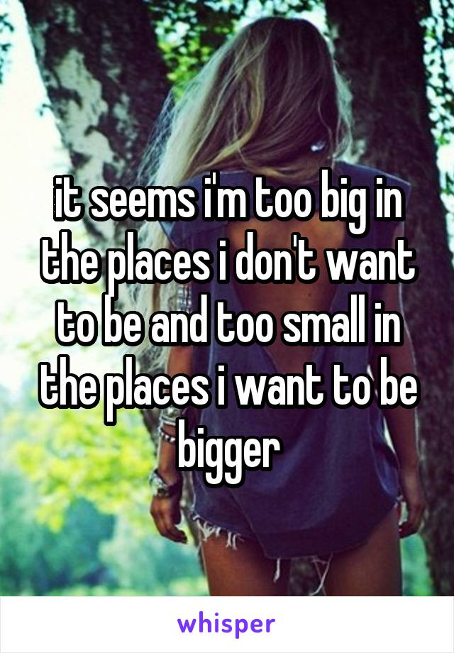 it seems i'm too big in the places i don't want to be and too small in the places i want to be bigger