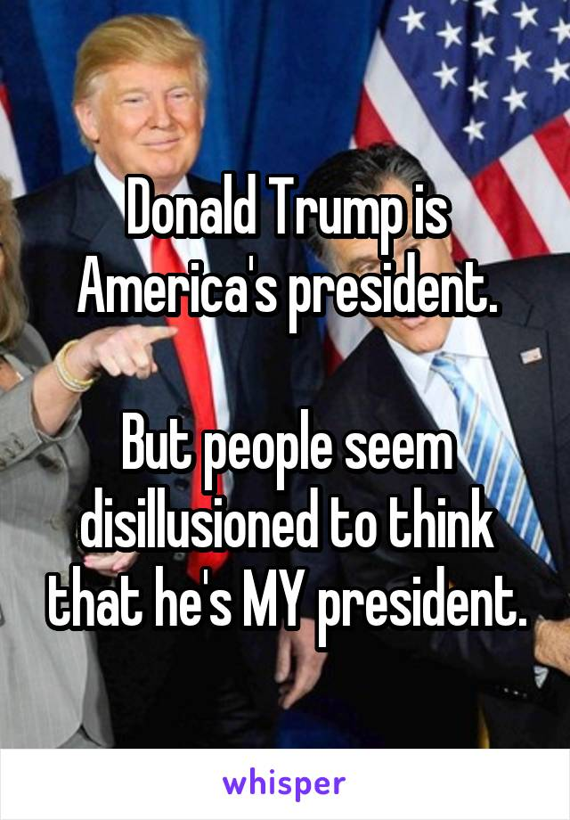 Donald Trump is America's president.  But people seem disillusioned to think that he's MY president.
