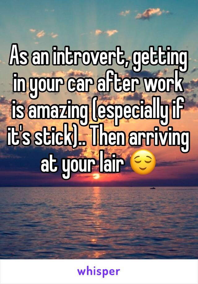 As an introvert, getting in your car after work is amazing (especially if it's stick).. Then arriving at your lair 😌