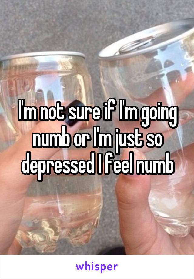 I'm not sure if I'm going numb or I'm just so depressed I feel numb