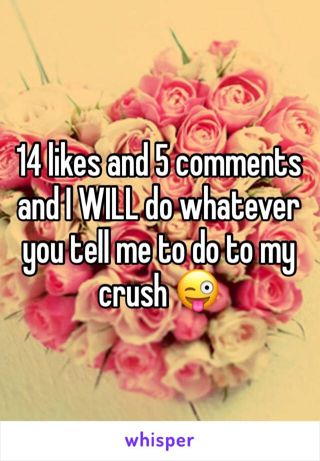 14 likes and 5 comments and I WILL do whatever you tell me to do to my crush 😜