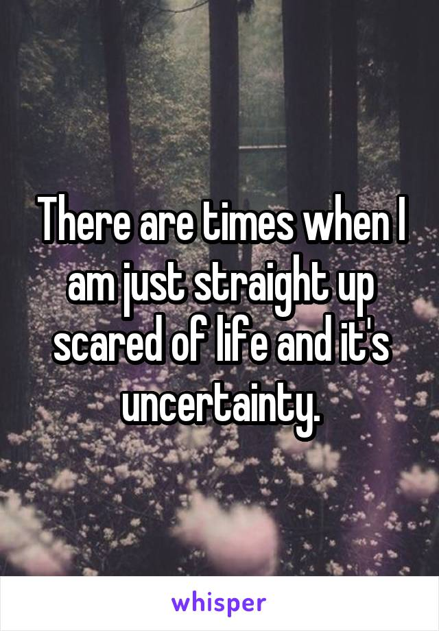 There are times when I am just straight up scared of life and it's uncertainty.
