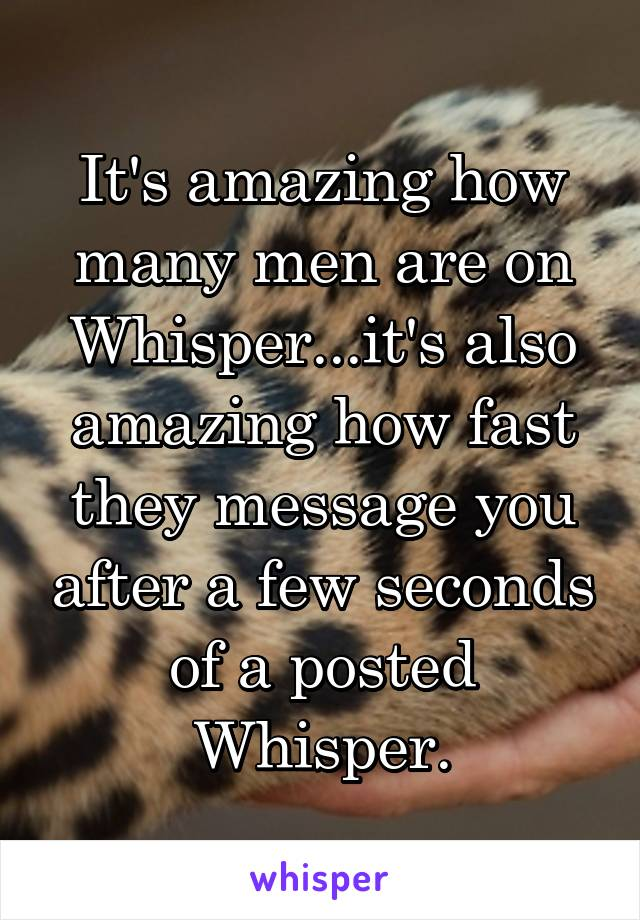 It's amazing how many men are on Whisper...it's also amazing how fast they message you after a few seconds of a posted Whisper.