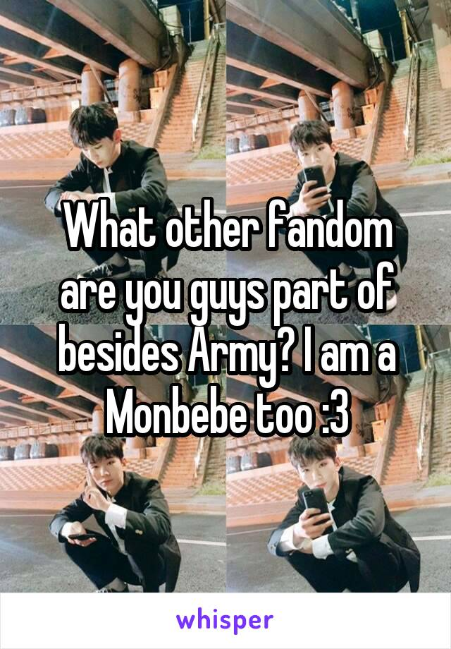 What other fandom are you guys part of besides Army? I am a Monbebe too :3