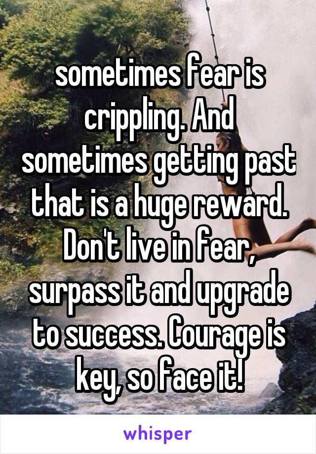 sometimes fear is crippling. And sometimes getting past that is a huge reward. Don't live in fear, surpass it and upgrade to success. Courage is key, so face it!
