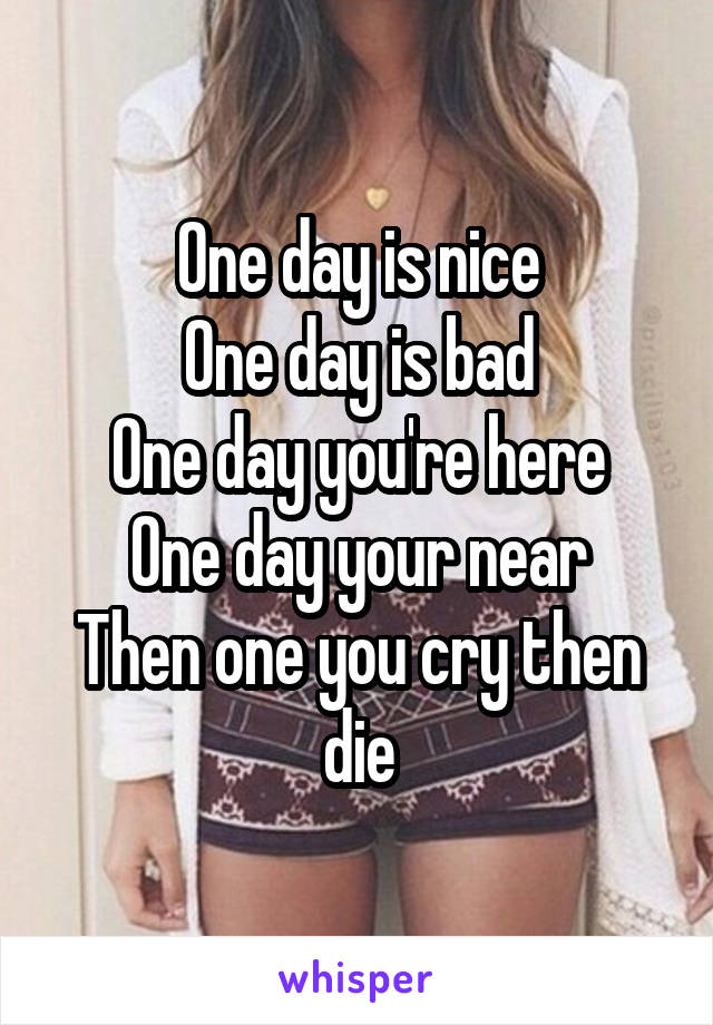 One day is nice One day is bad One day you're here One day your near Then one you cry then die
