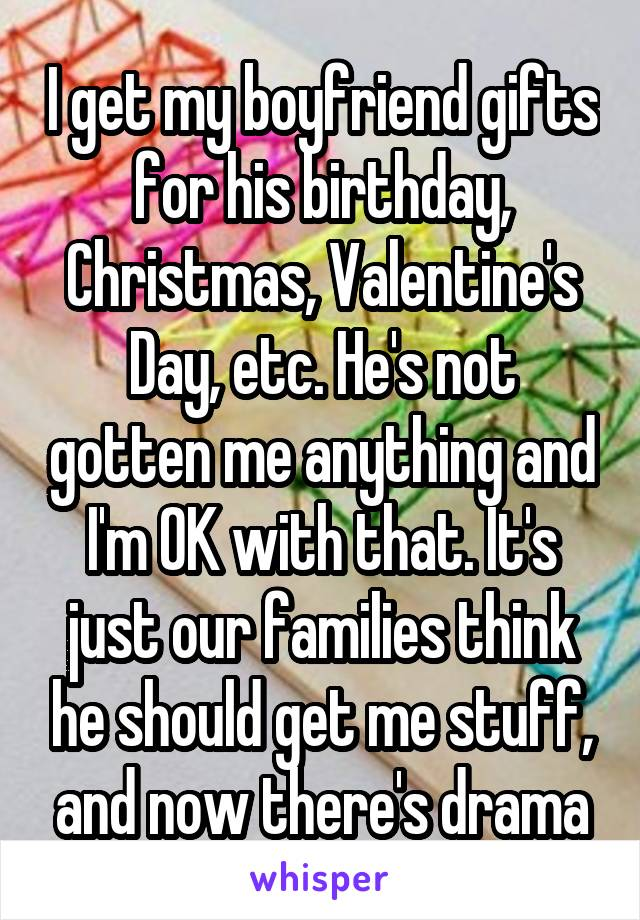I get my boyfriend gifts for his birthday, Christmas, Valentine's Day, etc. He's not gotten me anything and I'm OK with that. It's just our families think he should get me stuff, and now there's drama