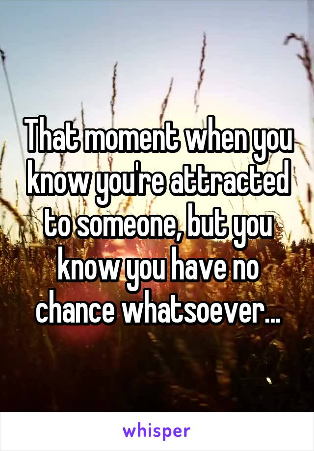 That moment when you know you're attracted to someone, but you know you have no chance whatsoever...