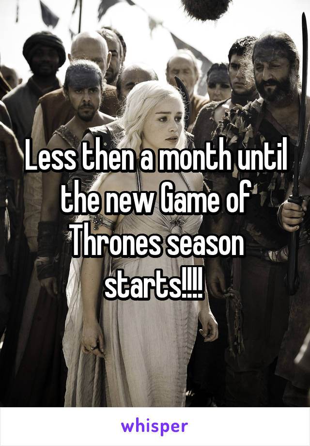 Less then a month until the new Game of Thrones season starts!!!!