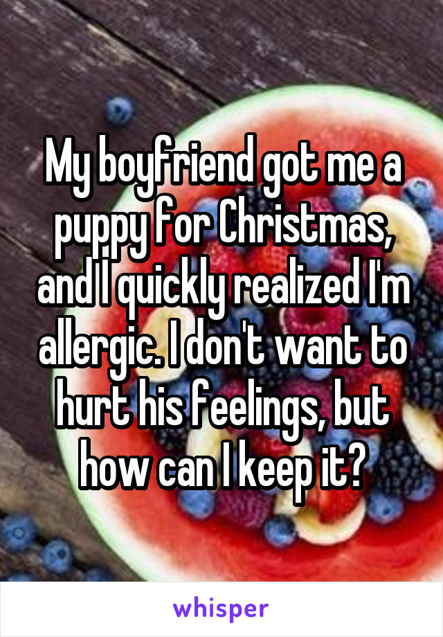 My boyfriend got me a puppy for Christmas, and I quickly realized I'm allergic. I don't want to hurt his feelings, but how can I keep it?