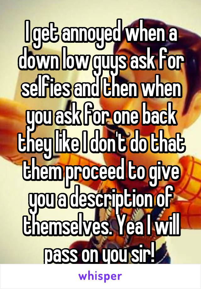 I get annoyed when a down low guys ask for selfies and then when you ask for one back they like I don't do that them proceed to give you a description of themselves. Yea I will pass on you sir!