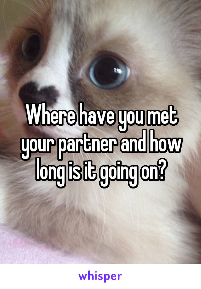 Where have you met your partner and how long is it going on?