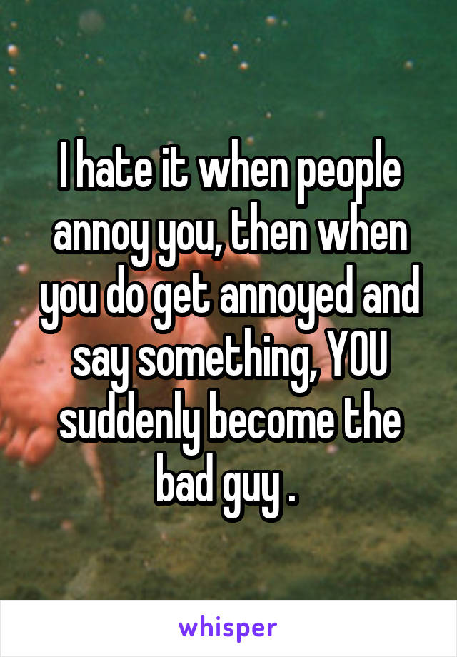 I hate it when people annoy you, then when you do get annoyed and say something, YOU suddenly become the bad guy .