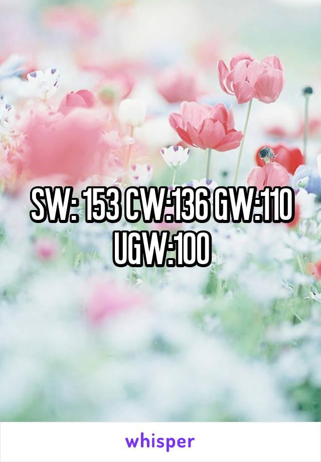 SW: 153 CW:136 GW:110 UGW:100
