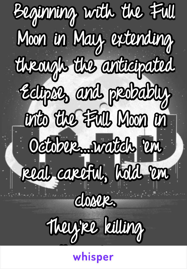 Beginning with the Full Moon in May extending through the anticipated Eclipse, and probably into the Full Moon in October....watch 'em real careful, hold 'em closer. They're killing themselves