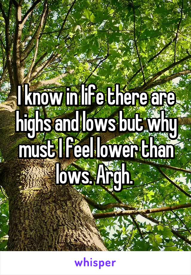 I know in life there are highs and lows but why must I feel lower than lows. Argh.