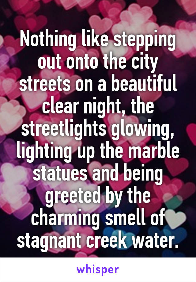 Nothing like stepping out onto the city streets on a beautiful clear night, the streetlights glowing, lighting up the marble statues and being greeted by the charming smell of stagnant creek water.