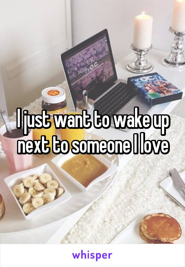 I just want to wake up next to someone I love