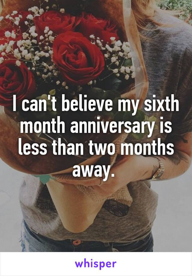 I can't believe my sixth month anniversary is less than two months away.