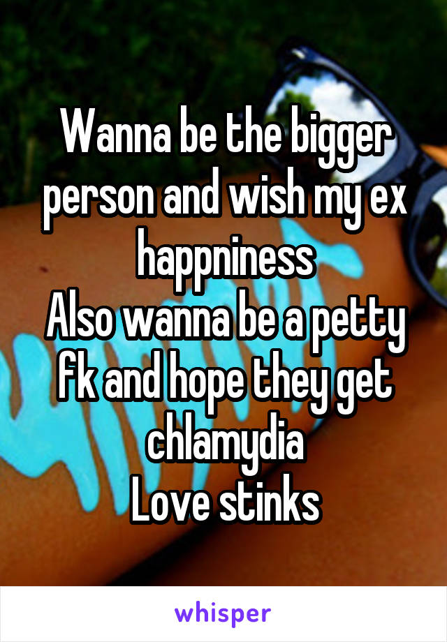 Wanna be the bigger person and wish my ex happniness Also wanna be a petty fk and hope they get chlamydia Love stinks
