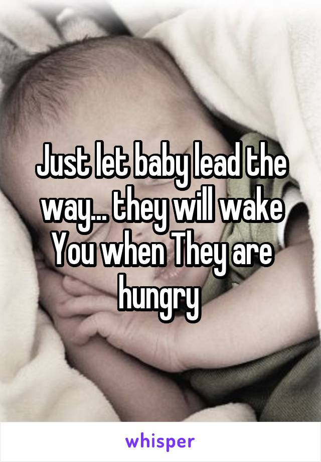 Just let baby lead the way... they will wake You when They are hungry