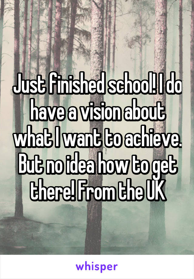 Just finished school! I do have a vision about what I want to achieve. But no idea how to get there! From the UK