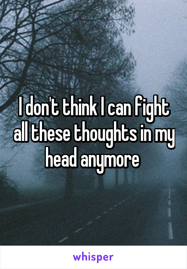 I don't think I can fight all these thoughts in my head anymore
