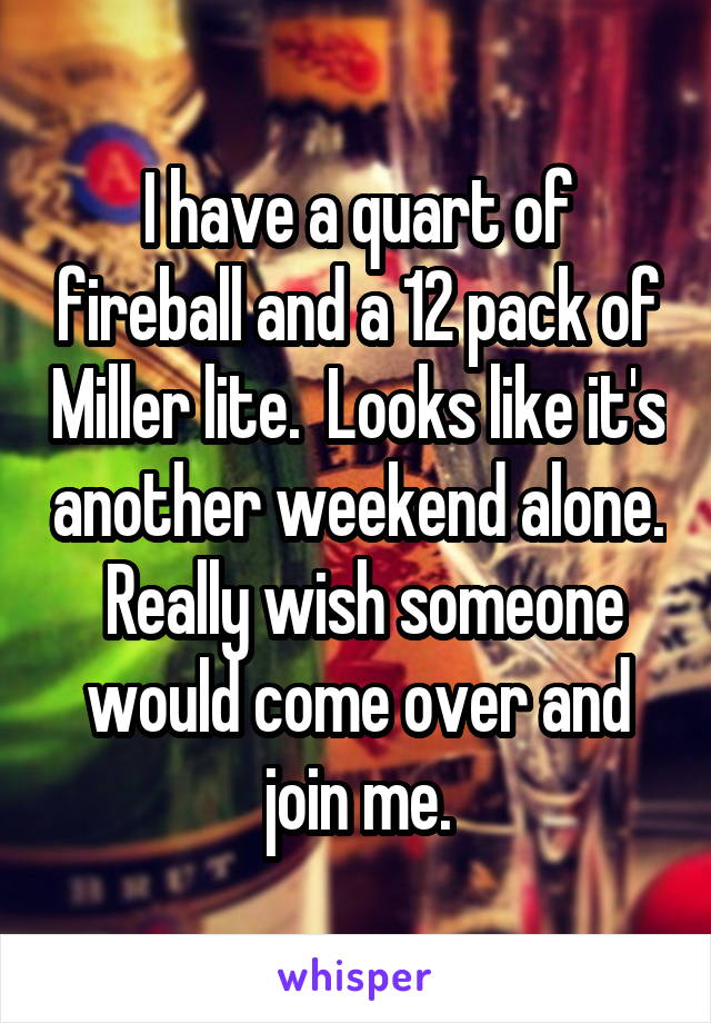 I have a quart of fireball and a 12 pack of Miller lite.  Looks like it's another weekend alone.  Really wish someone would come over and join me.