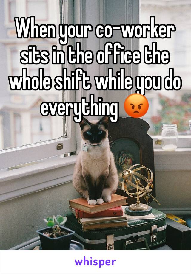 When your co-worker sits in the office the whole shift while you do everything 😡