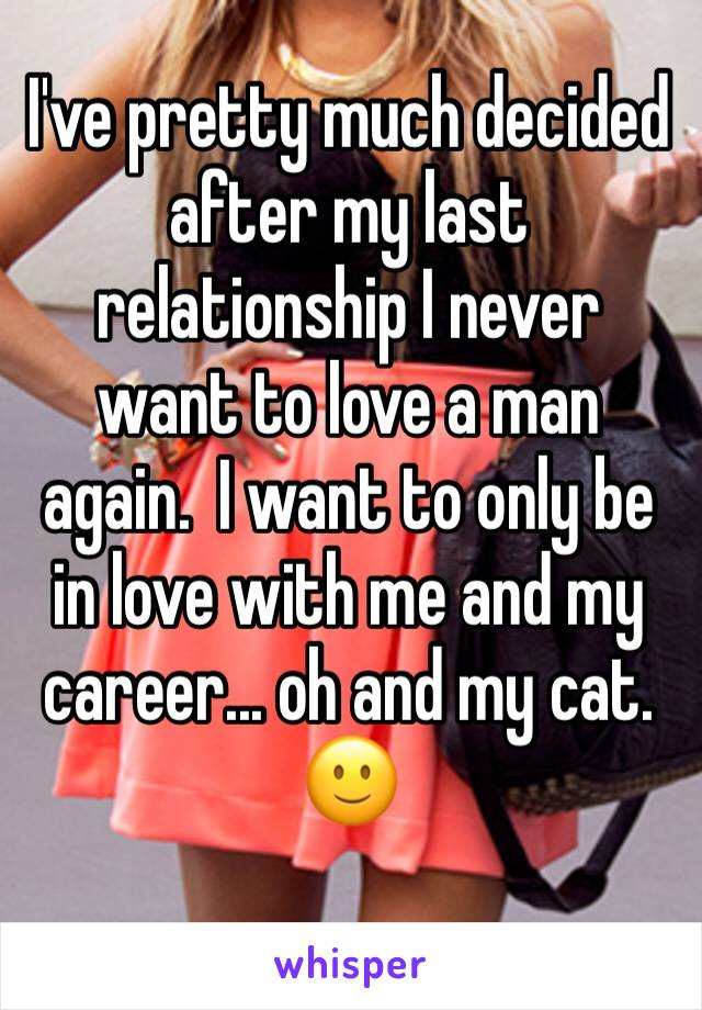 I've pretty much decided after my last relationship I never want to love a man again.  I want to only be in love with me and my career... oh and my cat. 🙂