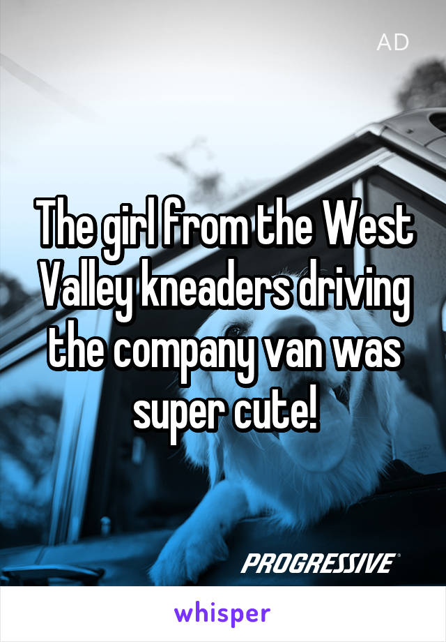 The girl from the West Valley kneaders driving the company van was super cute!