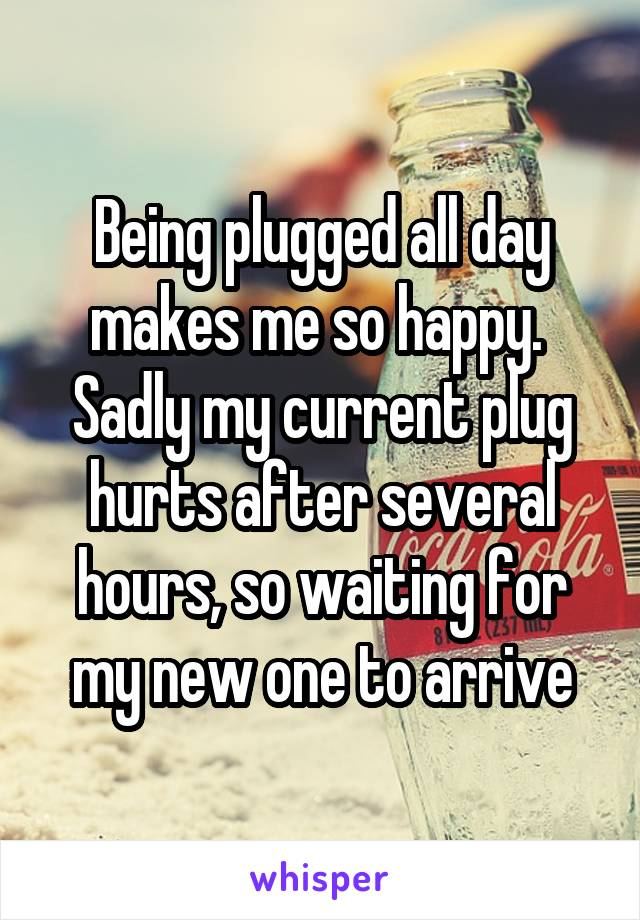 Being plugged all day makes me so happy.  Sadly my current plug hurts after several hours, so waiting for my new one to arrive