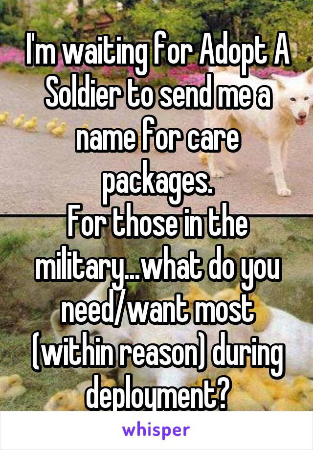 I'm waiting for Adopt A Soldier to send me a name for care packages. For those in the military...what do you need/want most (within reason) during deployment?