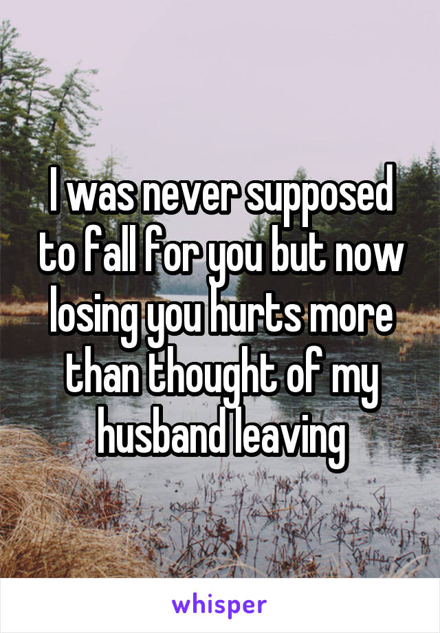 I was never supposed to fall for you but now losing you hurts more than thought of my husband leaving
