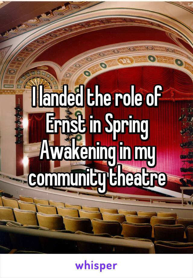 I landed the role of Ernst in Spring Awakening in my community theatre