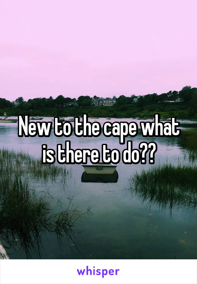 New to the cape what is there to do??