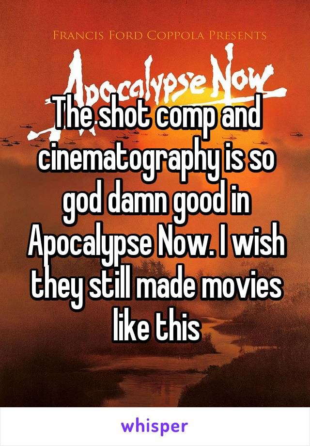 The shot comp and cinematography is so god damn good in Apocalypse Now. I wish they still made movies like this