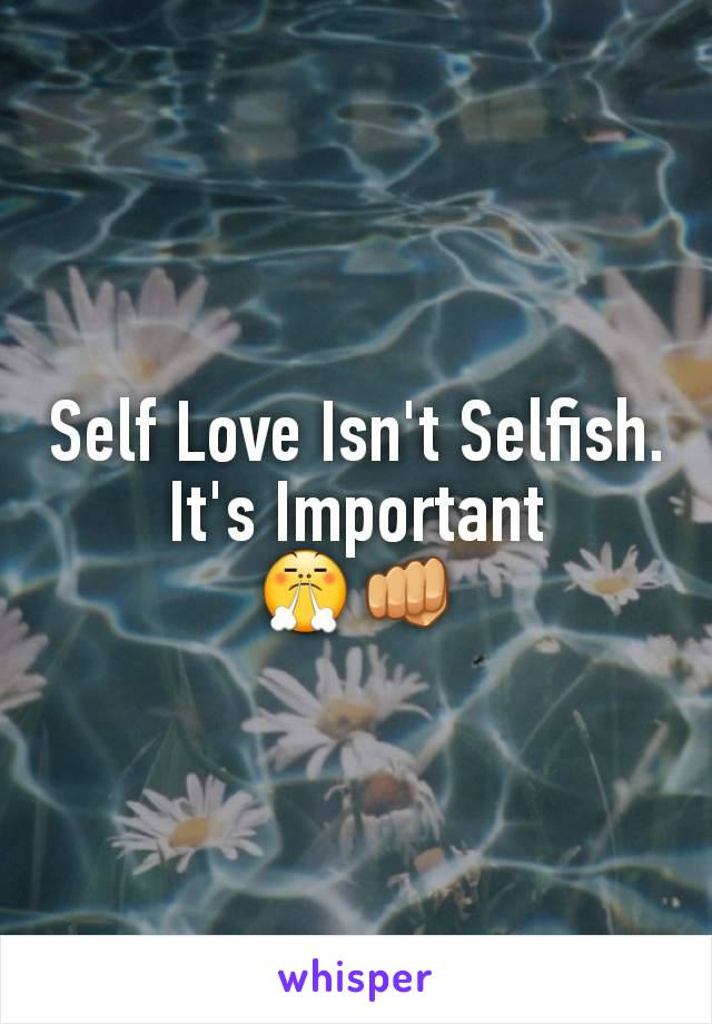 Self Love Isn't Selfish. It's Important 😤👊