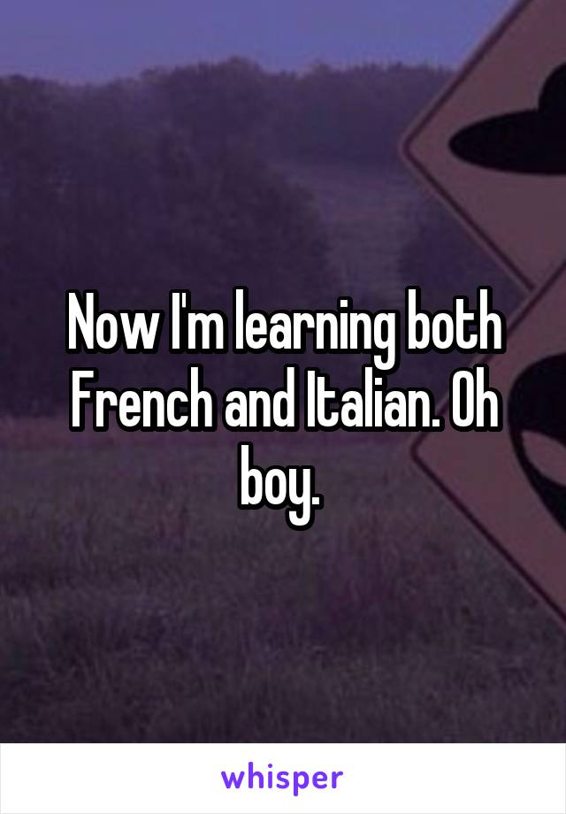Now I'm learning both French and Italian. Oh boy.
