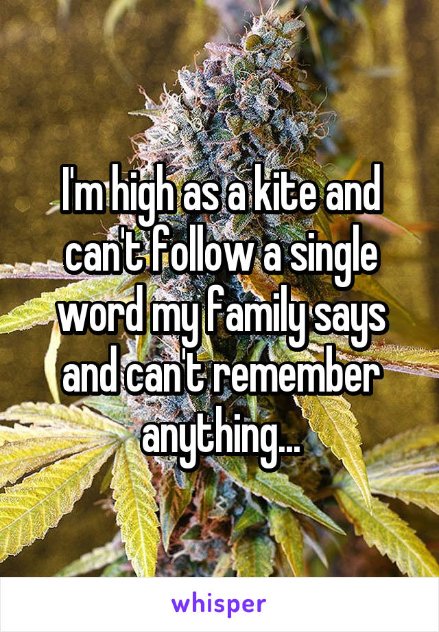 I'm high as a kite and can't follow a single word my family says and can't remember anything...