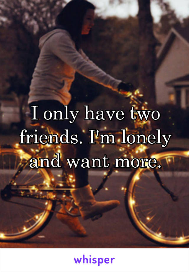 I only have two friends. I'm lonely and want more.