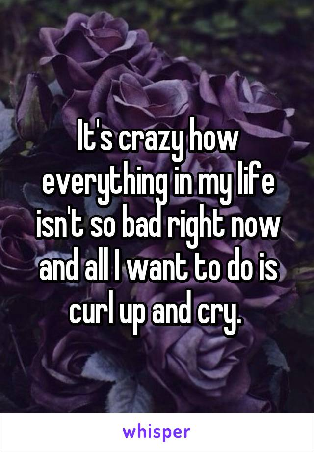 It's crazy how everything in my life isn't so bad right now and all I want to do is curl up and cry.