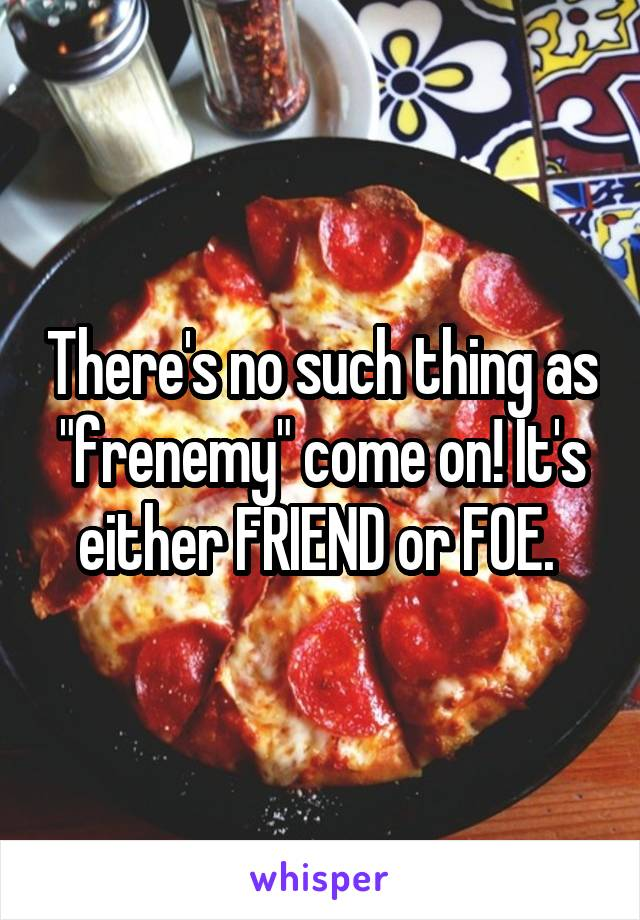 "There's no such thing as ""frenemy"" come on! It's either FRIEND or FOE."