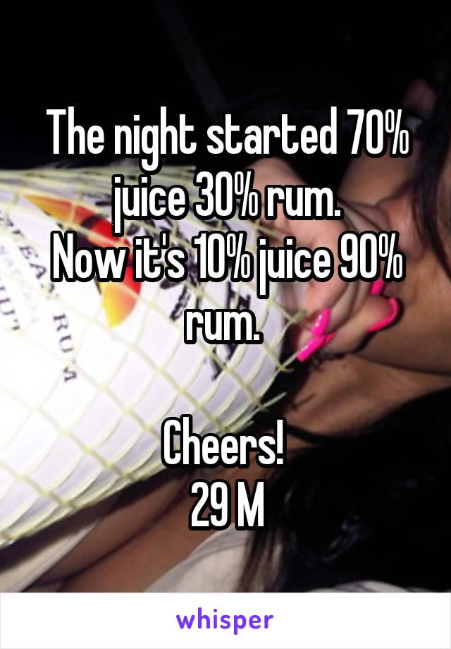 The night started 70% juice 30% rum. Now it's 10% juice 90% rum.   Cheers!  29 M