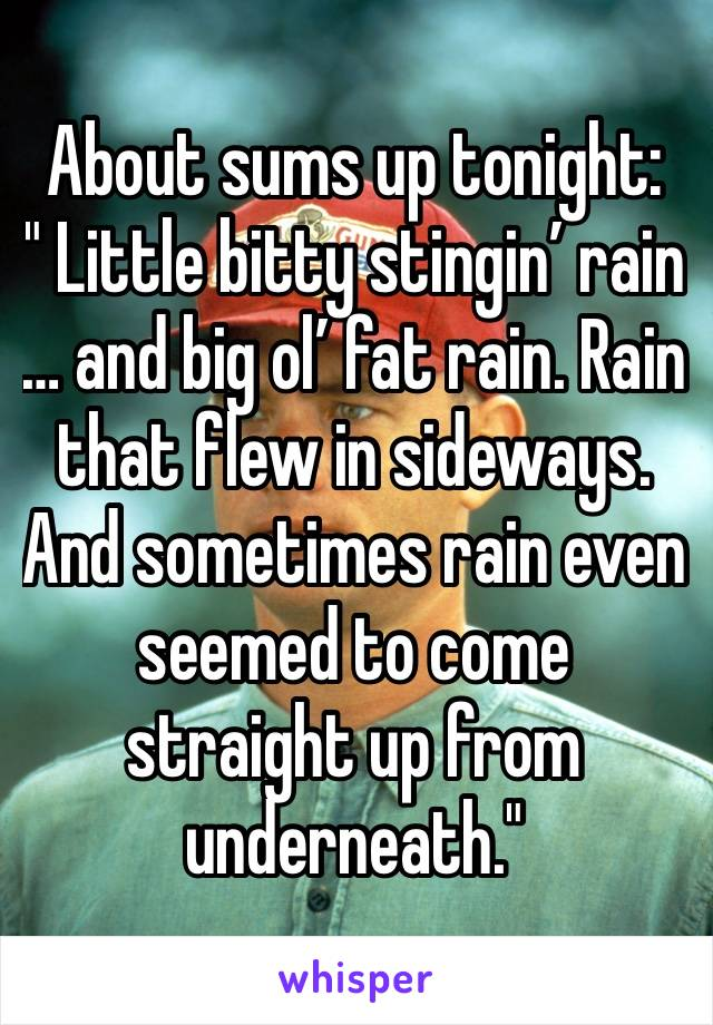 "About sums up tonight:  "" Little bitty stingin' rain … and big ol' fat rain. Rain that flew in sideways. And sometimes rain even seemed to come straight up from underneath."""
