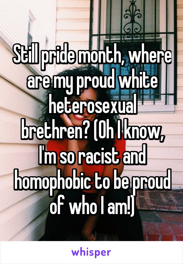 Still pride month, where are my proud white heterosexual brethren? (Oh I know, I'm so racist and homophobic to be proud of who I am!)