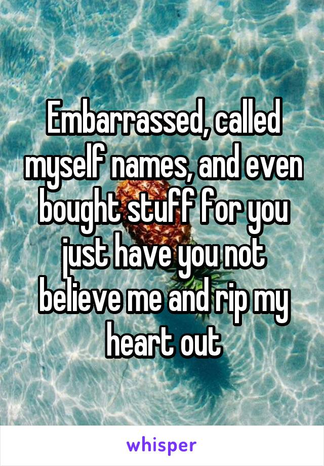 Embarrassed, called myself names, and even bought stuff for you just have you not believe me and rip my heart out