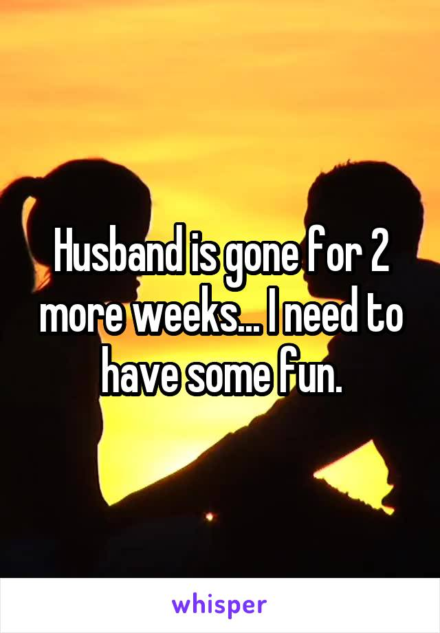 Husband is gone for 2 more weeks... I need to have some fun.