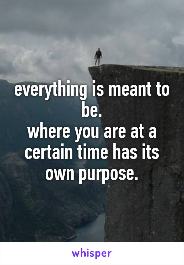 everything is meant to be. where you are at a certain time has its own purpose.
